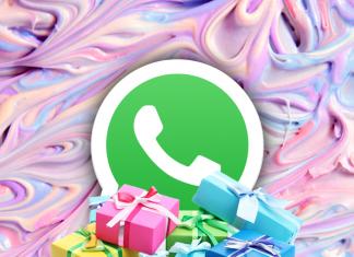 Logo WhatsApp con regalos navideños alrededor