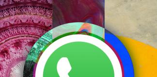 Logo WhatsApp entre colores fondos de pantalla