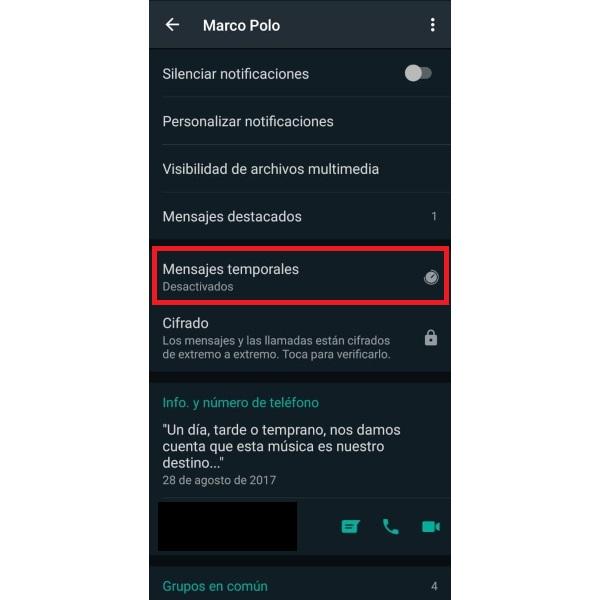 WhatsApp cómo activar los mensajes que desaparecen