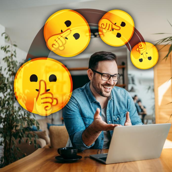 Persona frente a su computadora emojis de silencio