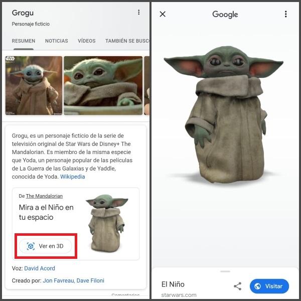 Babby Yoda 3D en Google cómo activarlo