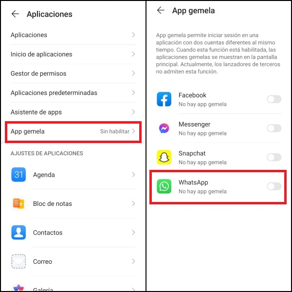 Cómo activar App Gemela en Huawei