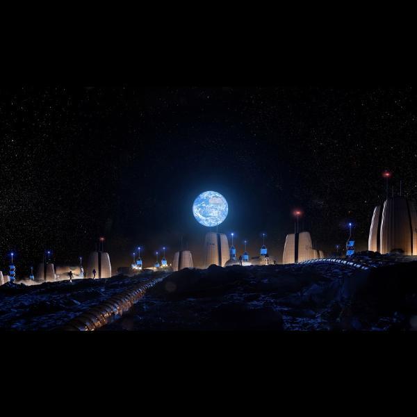 imágenes que muestran cómo sería la primera ciudad en la Luna