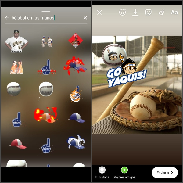 instagram stories stickers béisbol