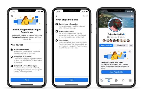 Nuevo diseño de Facebook páginas