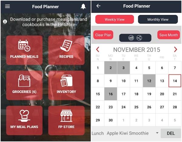 Food planner apps aplicaciones comida