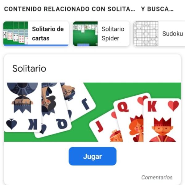 Solitario juego gratis Google doodle