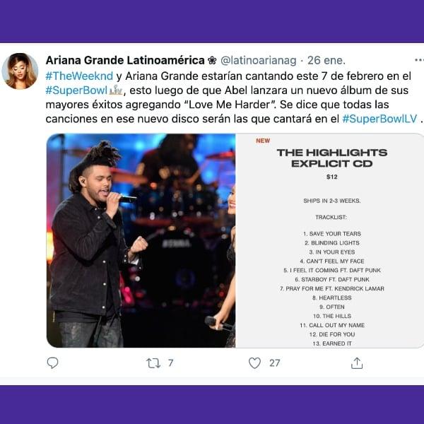 The Weeknd con Ariana Grande en el super bowl super domingo