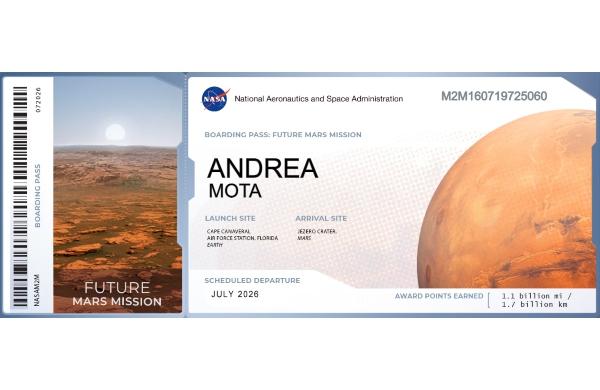 NASA nombre tarjeta de embarque Marte
