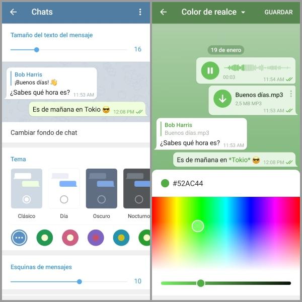 Telegram cómo cambiar el fondo de la app