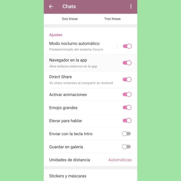 Telegram ajustes app