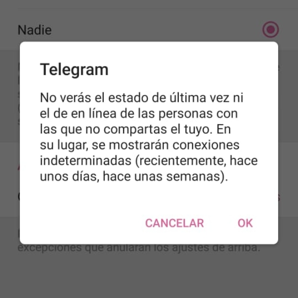 Modo invisible Telegram restricciones