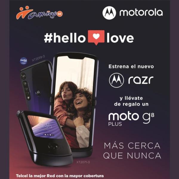 Estrena el nuevo Motorola Razr y llévate de regalo un Moto G8 Plus para tener más cerca que nunca a todos los que quieres.