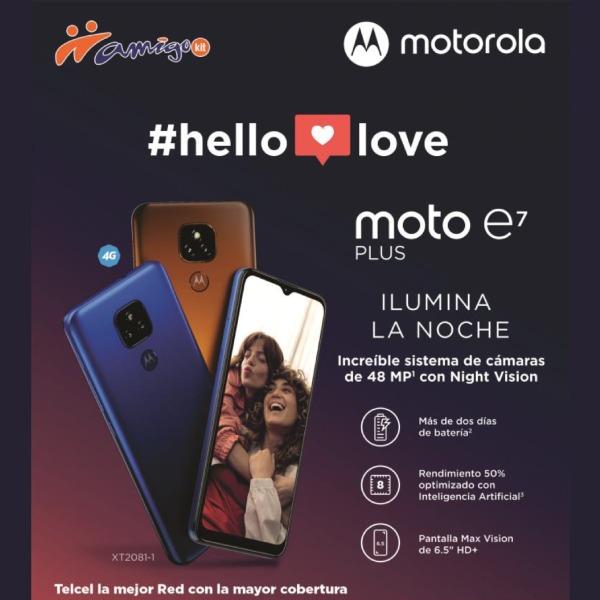 El Moto E7 Plus fue hecho para todos aquellos amantes de la fotografía y puede ser tuyo con Amigo Kit y disfrutar de su increíble sistema de cámaras de 48 MP con Night Vision, así como de su pantalla Max Vision de 6.5HD+.