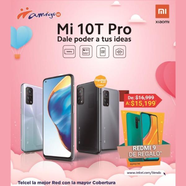 Con Amigo Kit también puedes llevarte el Mi 10T Pro, el cual posee cualidades sorprendentes, de $16,999 a sólo $15,199. Pero no sólo eso, al aprovechar esta promoción será tuyo de regalo un Redmi 9 para compartir con esa persona especial.