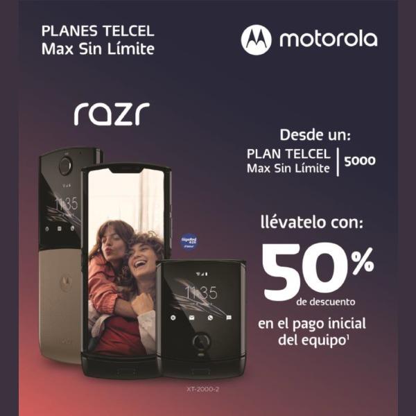 Estrena el nuevo Motorola Razr, el teléfono que todos quieren, desde un Plan Telcel Max Sin Límite 5000 con un 50% de descuento en el pago inicial de tu equipo y disfruta de la gran tecnología Motorola.