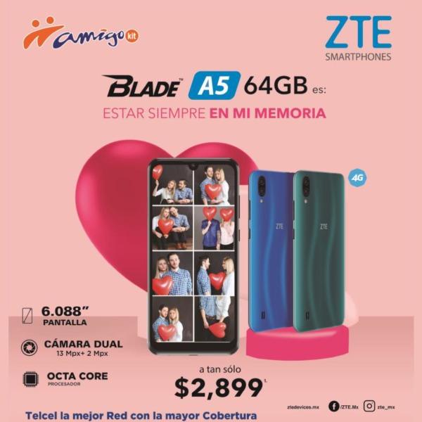 Otra gran opción a precio accesible es el Blade A5 64GB a tan sólo $2,899.