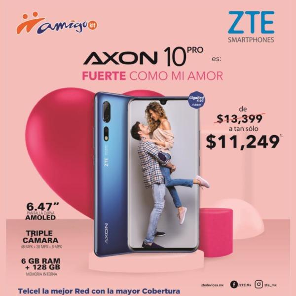 Con pantalla curva de 6.47 AMOLED, triple cámara de 48+20+8 megapíxeles y gran tecnología, el nuevo AXON 10 Pro también está de promoción de $13,399 a tan sólo $11,249.