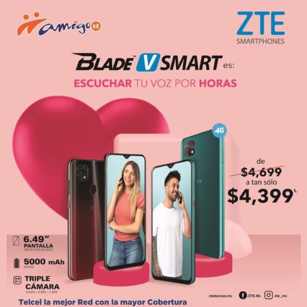 ZTE también se une a estas promociones y puede ser tuyo un Blade V Smart de $4,699 a tan sólo $4,399 y disfrutar de una gran pantalla de 6.4 pulgadas y una triple cámara de 16+8+2 megapíxeles.