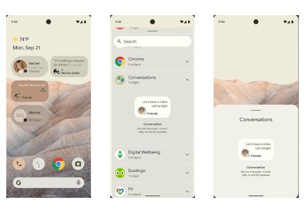 Nuevo Android 12 diseño pantalla principal