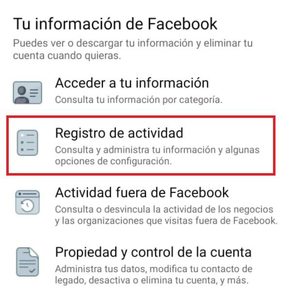 Registro de actividad FB