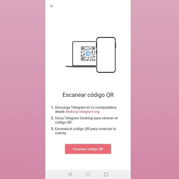 Nuevo código QR Telegram versión Web