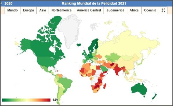 Ranking Mundial de la felicidad 2021