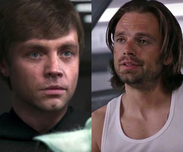 Luke Skywalwer Mark Hamill parecido Sebastian Stan