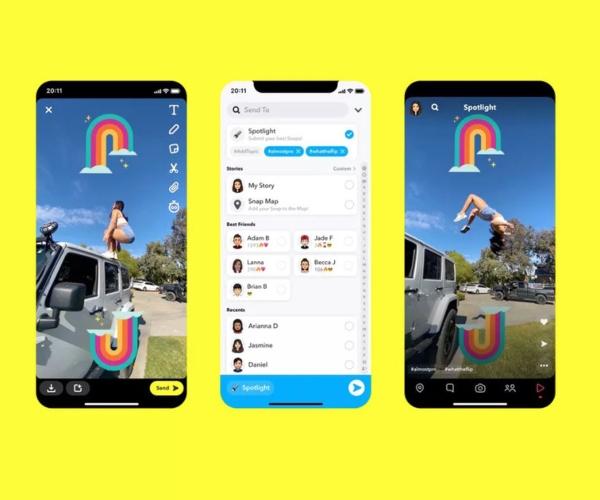 Nuevos videos cortos Spotlight Snapchat TikTok