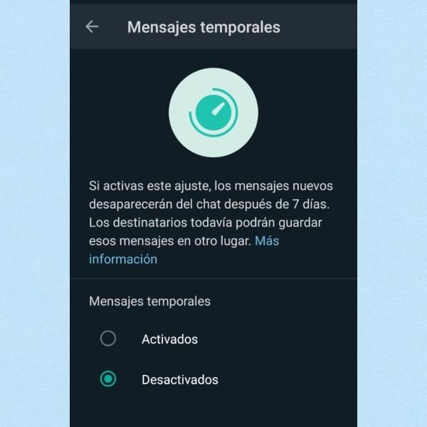 Mensajes temporales WhatsApp cómo activarlos