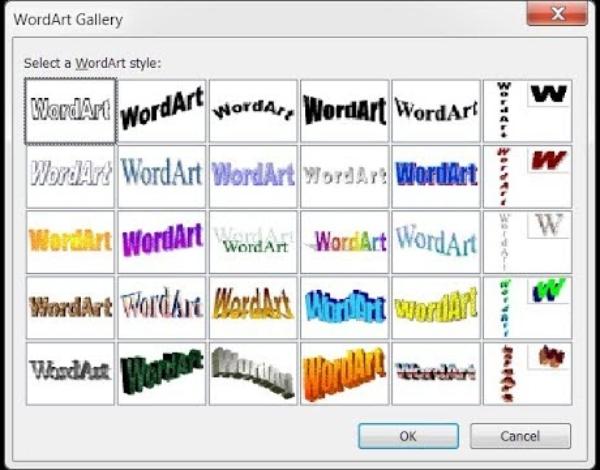 Word WordArt estilos