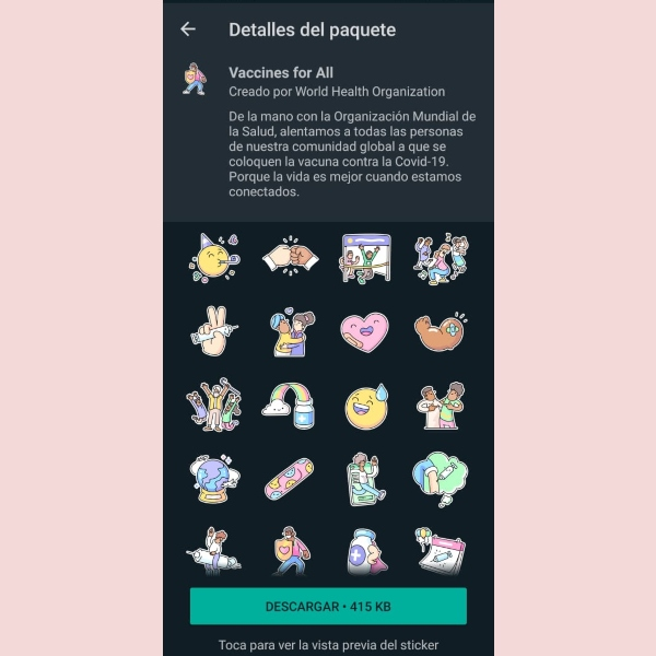 WhatsApp Deep Links packs stickers Vacunas Para Todos