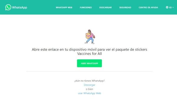 WhatsApp Web Deep Links ejemplo Vacunas para todos
