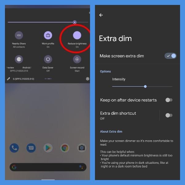 android 12 tendra la funcion de extra dim