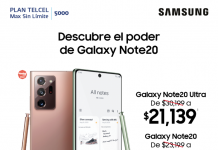 promocion Samsung Galaxy Note20 de telcel