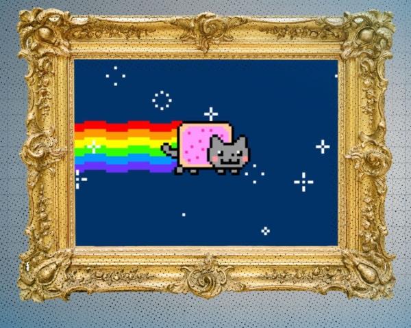 Arte vendida en NFTs gato arcoíris