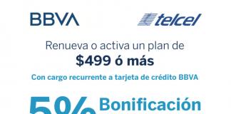 Renueva o activa un plan Telcel del $499 o más con cargo recurrente a tarjeta de crédito BBVA y recibe un 5% de bonificación pagando a 13 meses sin intereses