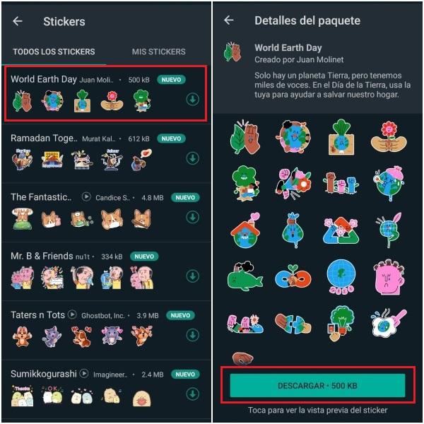 Nuevo pack de stickers de WhatsApp Día de la Tierra