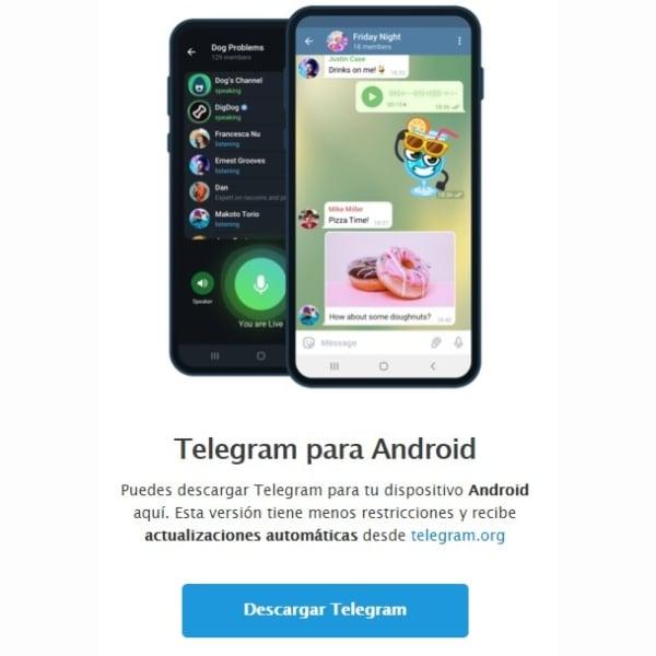 Telegram para Android, nueva versión sin restricciones Google Descargar