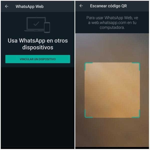 WhatsApp escanear código QR desde el teléfono