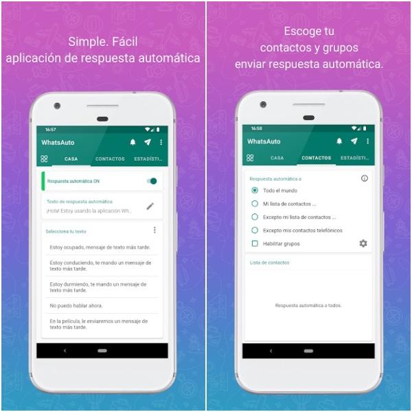 WhatsAuto aplicación de Google Play para activar respuestas automáticas en WhatsApp
