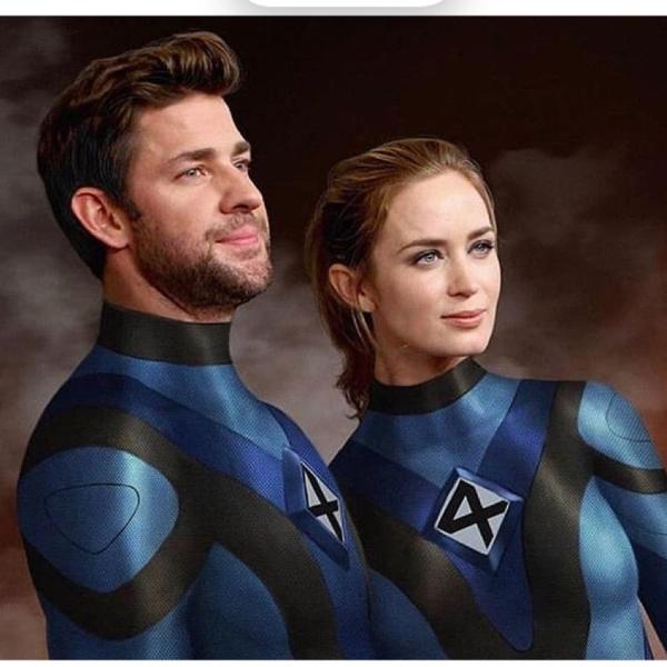 Reed Richards y Sue Storm, John Krasinski y Emily Blunt, Los 4 Fantásticos, Marvel