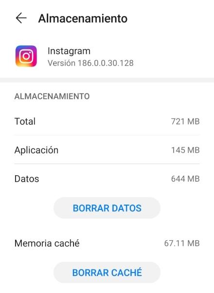 Forzar detención, eliminar caché de Instagram desde Ajustes del teléfono