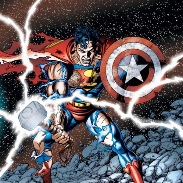 Superman, martillo Thor, escudo Capitán américa