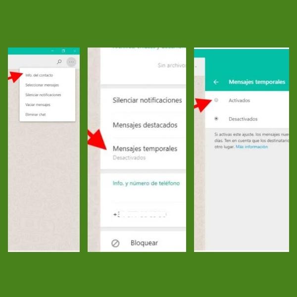 como activar mensajes temporales en whatsapp web