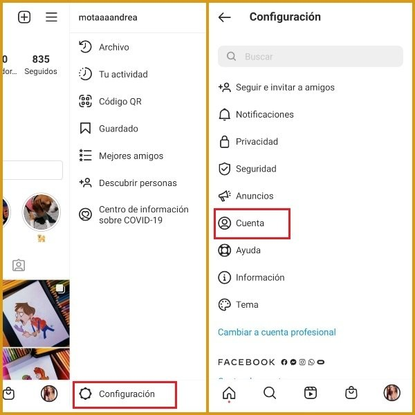 Menú de configuración y cuenta de Instagram para solicitar verificación de cuenta- Blog HolaTelcel