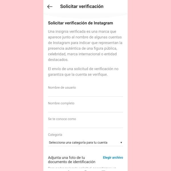 Datos personales e identificación que pide Instagram para verificar una cuenta- Blog HolaTelcel