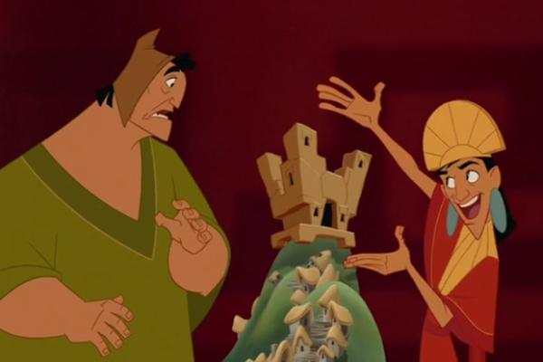 Kuzco y Pacha discutiendo sobre el nuevo castillo del emperador, escena que podría incluirse en el live action de Disney- Blog HolaTelcel
