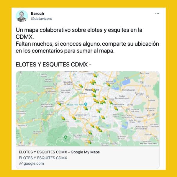 mapa que comparte dónde venden esquites en CDMX - Blog Hola Telcel