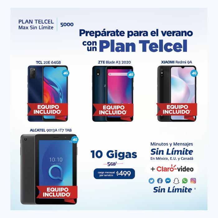 Estrena este verano con un Plan Telcel Max Sin Límite, el cual tiene equipos incluidos como TCL 20E 64GB , ZTE Blade A3 2020, XIAOMI Redmi 9A, ALCATEL 9013A 1T7 TAB con Telcel la Mejor Red con la mayor Cobertura.- Blog Hola Telcel